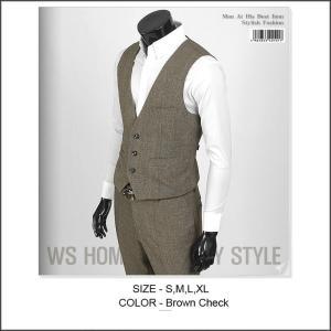 ベスト メンズ ブラウン  シャドーチェック 3ボタン bts101v |coconoco
