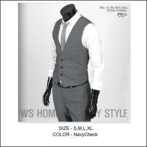 ベスト メンズ  グレー シャドーチェック 3ボタン bts102v |coconoco