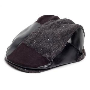 ハンチング帽 メンズ ツイード PU フェイクレザー はぎ パッチワーク 秋 冬 ブラック 黒色 ハンチング キャップ 帽子 フリー(58cm) 調整可能|coconoco