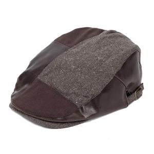 ハンチング帽 メンズ ツイード PU フェイクレザー はぎ パッチワーク 秋 冬 ブラウン 茶色 ハンチング キャップ 帽子 フリー(58cm) 調整可能|coconoco
