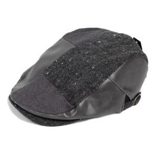ハンチング帽 メンズ ツイード PU フェイクレザー はぎ パッチワーク 秋 冬 グレー 灰色 ハンチング キャップ 帽子 フリー(58cm) 調整可能|coconoco