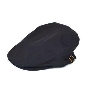 ハンチング帽 メンズ コットン ヘリンボーン ハンチングキャップ ブラック 黒 ハンチング帽子 フリーサイズ (58cm) 調整可能 ハンチングの定番|coconoco