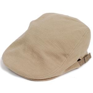 ハンチング帽 メンズ ジャガードカラー ハンチングキャップ ベージュ  ハンチング帽子 フリーサイズ (58cm) 調整可能 ハンチングの定番 内側はチェック柄|coconoco