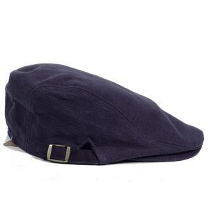 ハンチング帽 メンズ ジャガードカラー ハンチングキャップ ネイビー 紺色 ハンチング帽子 フリーサイズ (58cm) 調整可能 ハンチングの定番 内側はチェック柄|coconoco