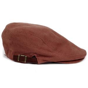 ハンチング帽 メンズ ジャガードカラー ハンチングキャップ オレンジ 橙色 ハンチング帽子 フリーサイズ (58cm) 調整可能 ハンチングの定番 内側はチェック柄|coconoco