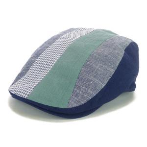 ハンチング帽 メンズ サマーカラー ネイビー ブルー系 ブロック ストライプ パッチワーク ハンチングキャップ ハンチング帽子 フリーサイズ (58cm) 調整可能|coconoco