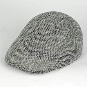 ハンチング帽 メンズ シャワーストライプ サーモ メッシュ ハンチング キャップ グレー/ホワイト ハンチング帽子 フリーサイズ (58cm)|coconoco