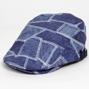 ハンチング帽子 ネイビー ブルー メンズ レディース 撥水 デニムパッチワーク プリント ハンチング...