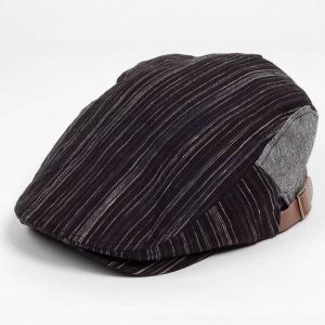 ハンチング帽子 メンズ レディース ブラック 黒 ストライプ グレー ヘリンボーン 切替 ハンチング...
