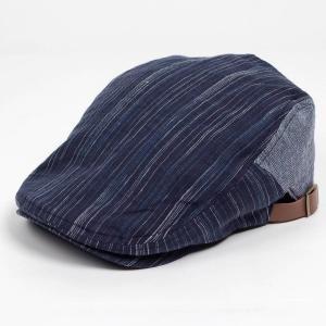 ハンチング帽子 メンズ レディース ネイビー ブルー ストライプ ヘリンボーン 切替 ハンチング キ...