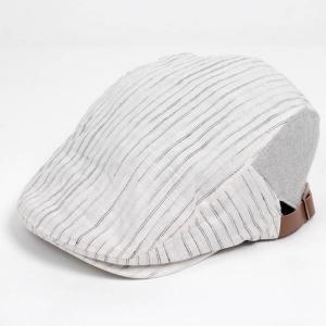 ハンチング帽子 メンズ レディース ホワイト 白 ストライプ ヘリンボーン 切替 ハンチング キャップ 帽子 58cm 調整 サイドベルト付き 春夏新作 coconoco