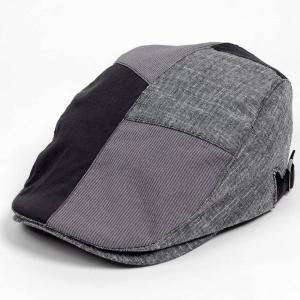 ハンチング メンズ レディース コットン リネン 4枚ハギ ブラック 黒色 帽子 58cm サイド調...
