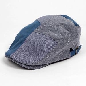 ハンチング メンズ レディース コットン リネン 4枚ハギ ブルー 青色 帽子 58cm サイド調整...