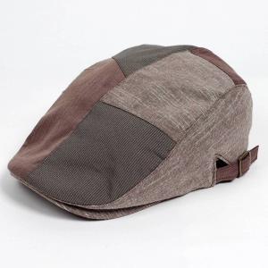 ハンチング メンズ レディース コットン リネン 4枚ハギ ブラウン 茶色 帽子 58cm サイド調...