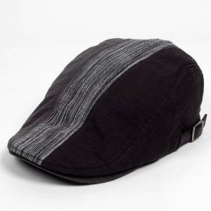 ハンチング メンズ レディース 3枚 はぎ ランダム 切替 ブラック グレー 帽子 58cm サイド調整スナップベルト付き BLACK coconoco