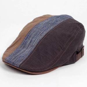 ハンチング メンズ レディース 3枚 はぎ ランダム 切替 ブラウン 茶色 帽子 58cm サイド調整スナップベルト付き BROWN coconoco