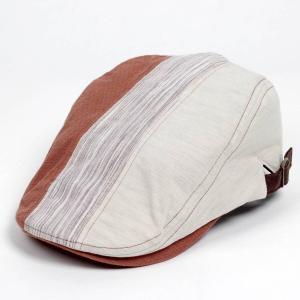 ハンチング メンズ レディース 3枚 はぎ ランダム 切替 オレンジ ベージュ色 帽子 58cm サイド調整スナップベルト付き ORANGE BEIGE coconoco