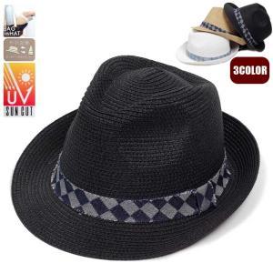 帽子 ペーパーハット 中折れ チェック柄 ヴィンテージ 帯 レディース メンズ 男女兼用 帽子 58cm フリーサイズ 微調整可能 形状記憶 UVカット 白 ベージュ 黒|coconoco