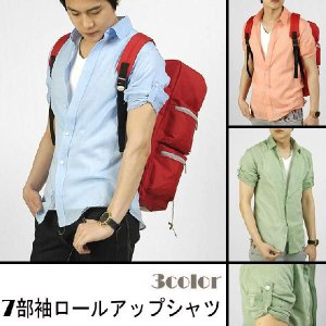七分袖 ロールアップ 綿・麻混紡 シャツ 3色 hd101|coconoco