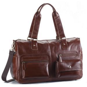 ボストンバッグ メンズ レザー ビジネスバッグ 45cm ショルダー付属 牛革 本革 革 底鋲付き 紳士 男性 カバン 鞄 かばん 茶 ブラウン|coconoco