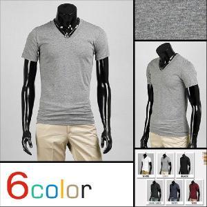 シルエットが素敵なスリムライン・メンズ・Vネック・Tシャツ・カットソー・基本無地 6色 グレー追加 is03|coconoco