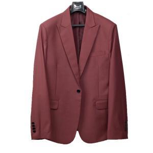 スーツ シングル 1ボタン メンズ スリム セットアップ ワイン色 jj151|coconoco