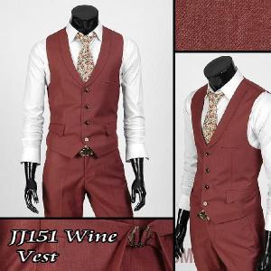 4ボタン メンズ ベスト ラウンディング カラー ワイン jj151v |coconoco