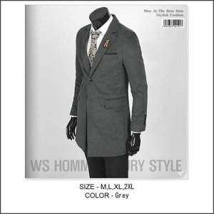グレー色 メンズ スリムライン コート、ロングジャケット、ウール混紡 カシミヤタッチの柔らかい触り心地が抜群 チーフ飾り ロング ジャケット jj196|coconoco