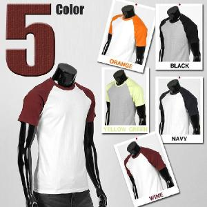 メンズ 半袖 Tシャツ カットソー ラウンドネック ラグラン袖 5カラー jr008|coconoco