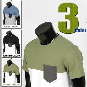 メンズ 半袖 Tシャツ カットソー ラウンドネック ハーフ3段配色 ポケット 3カラー jr009|coconoco