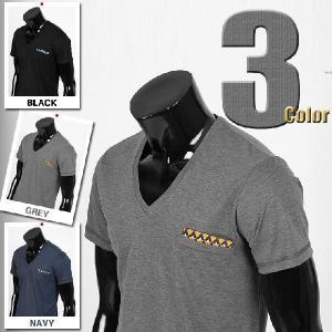 メンズ 半袖 Tシャツ カットソー シルケットタッチ Vネック チーフ飾り 3カラー jr010|coconoco