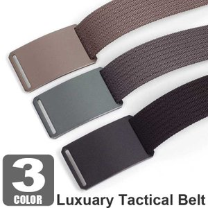 ベルト メンズ ラグジュアリー ナイロン タクティカル ベルト シンプル ソリッド 3カラー アロイ バックル ソリッド 無地 穴なし 無段階 調整自由|coconoco
