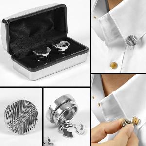 カフス カフリンクス 一般シャツでも着用可能! ボタンカーバ  シルバー 波型  mj9001|coconoco