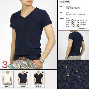 ポップコーン スパン生地 Vネック メンズ 半袖 Tシャツ カットソー 3カラー nst41|coconoco