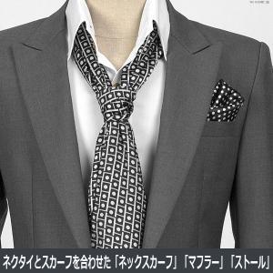 ドット&スクエア柄・ブラック&シルバー・ネクタイとスカーフの特徴を合わせた「ネックスカーフ」「ストール」「マフラー」 NTF08|coconoco