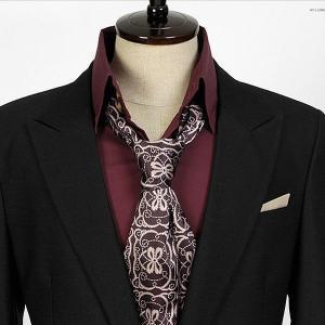 エスニック柄・ダークワイン・ネクタイとスカーフの特徴を合わせた「ネックスカーフ」「ストール」「マフラー」 NTF14|coconoco