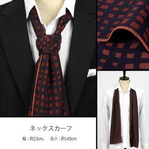 ネック・スカーフ ネイビー色 スクエア・パターン、四角柄 ネクタイとスカーフの長所を合わせた「ネックスカーフ」「ストール」「ロング・スカーフ」 ntf5075|coconoco