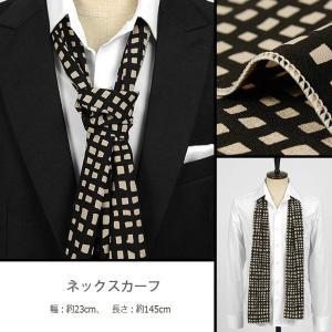 ネック・スカーフ ブラック、黒色 スクエア・パターン、 ネクタイとスカーフの長所を合わせた「ネックスカーフ」「ストール」「ロング・スカーフ」 ntf5076|coconoco
