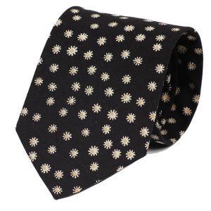ネクタイ ブラック 黒 花柄 フローラル たんぽぽ 種 コットンタッチ 大剣幅 8.5cm ntm6103 coconoco