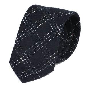 ネクタイ ネイビー 紺色 スティッチ チェック ウールタッチ 毛織 ネクタイ 大剣幅 8.5cm ntm6107 coconoco