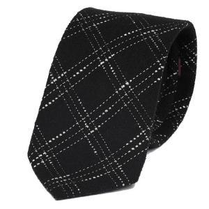 ネクタイ ブラック 黒色 スティッチ チェック ウールタッチ 毛織 ネクタイ 大剣幅 8.5cm ntm6108 coconoco