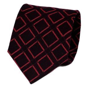 ネクタイ ブラック 黒色 赤色ロープ 四角 パターン ウールタッチ 毛織 ネクタイ 大剣幅 8.5cm ntm6110 coconoco