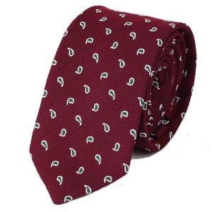 ネクタイ ワイン 赤色 ペイズリー 水玉 パターン ソフトな 手触りのネクタイ 大剣幅 7cm ntm6162|coconoco