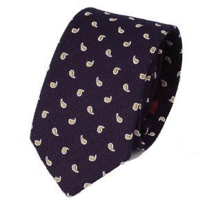 ネクタイ ネイビー 紺色 ブルー 水玉 ペイズリー パターン ソフトな 手触りのネクタイ 大剣幅 7cm ntm6163|coconoco