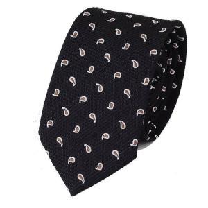 ネクタイ ブラック 黒色 水玉 ペイズリー パターン ソフトな 手触りのネクタイ 大剣幅 7cm ntm6164|coconoco
