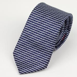 ネクタイ ブルー & 青シルバー ボーダー ストライプ柄 細い ピンストライプ ネクタイ 大剣幅 7cm ntm6181|coconoco