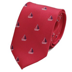 ネクタイ ヨット マリーン 海洋 モチーフ 小紋 パターン やや細い スリム ネクタイ レッド 赤色 大剣幅7cm ntm6226|coconoco