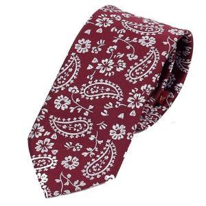 ネクタイ メンズ ペイズリー柄 赤色 レッド 花柄 総柄 スリム ネクタイ 大剣幅 7cm ntm6277|coconoco
