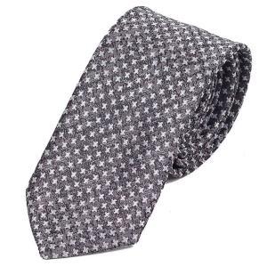 ネクタイ メンズ クロス パターン シルバー グレー色 総柄 十字 小紋 ハウンドトゥース 大剣幅 7cm ntm6281|coconoco