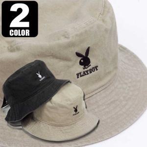 バケットハット メンズ レディース バケハ PLAYBOY バイオ ウォッシュ プレイボイ 男女兼用サイズ(58cm) UVカット HAT ブラック、ベージュ 2色 Mサイズ|coconoco